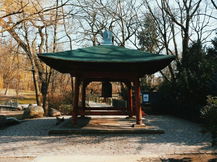 The peace bell in the Park of Friedrichshain. Established in 1989 the bell remembers the drop of the atomic bombs on Japan in 1945.