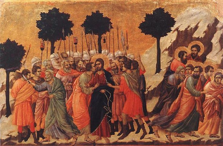 Late Gothic Art in Italy 1200- Duccio, The Betrayal of Jesus, Tempera on wood. Artwork of Jesus being kissed on the cheek by his disciple who betrayed him in the garden of Eden.
