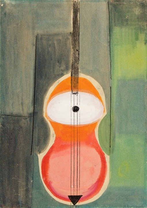 painting by Andrzej Wróblewski, Violin, mixed media, National Museum in Krakow, undated