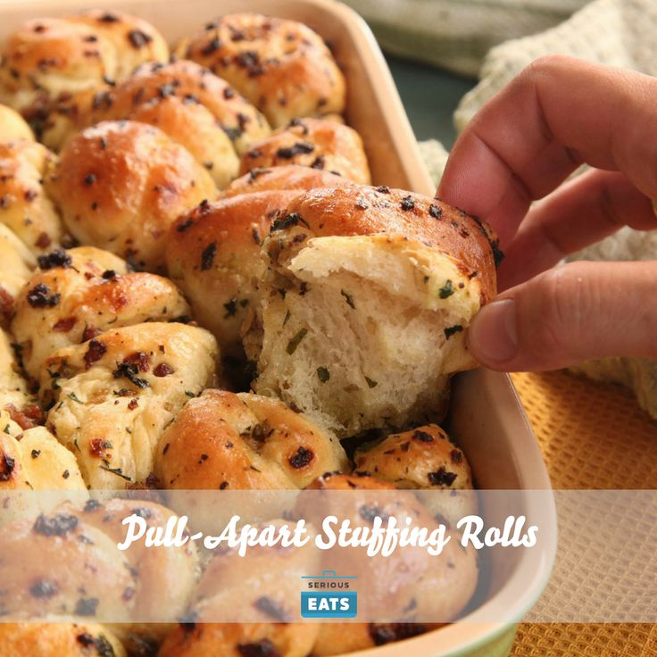 They're like garlic knots flavored with stuffing ingredients, and yes, that is exactly as good as it sounds.