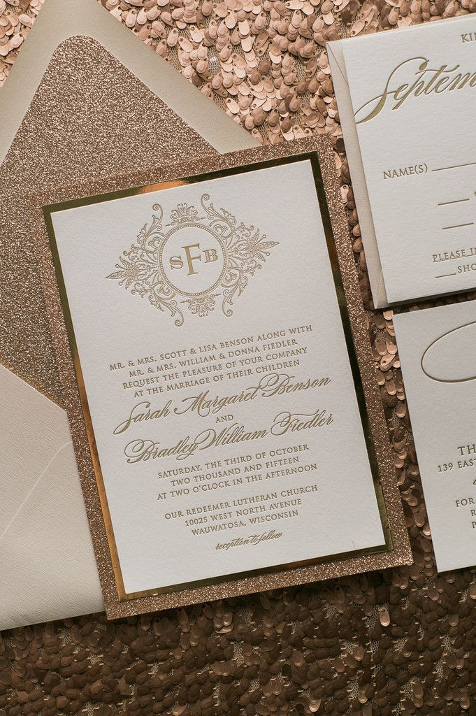 Fabulous Sparkly and Fancy Neutral Tone Glitter Luxury Monogram Letterpress Wedding Invitations by Just Invite Me