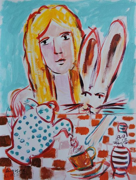 An endearing, highly sentimental and beautifully light work by #AugusteBlackman featuring #alice and her #bunny  #acrylic #paper #blackman #teaparty #tea #australianart