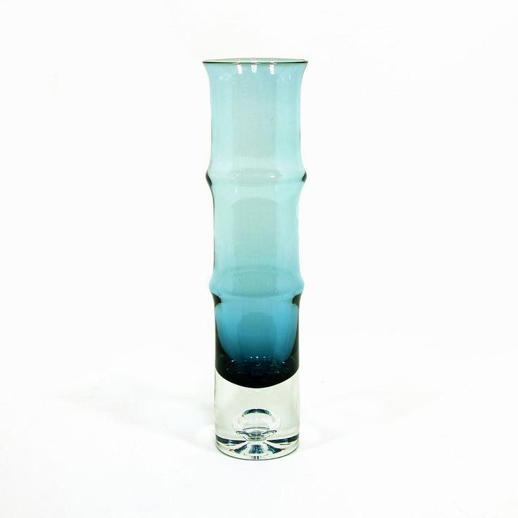 Bo Borgstrom Bamboo Vase, Blue Glass, Mid Century Swedish Design, Bo Borgstrom for Aseda Glasbruk, ca. 1960s. $45.00, via Etsy.
