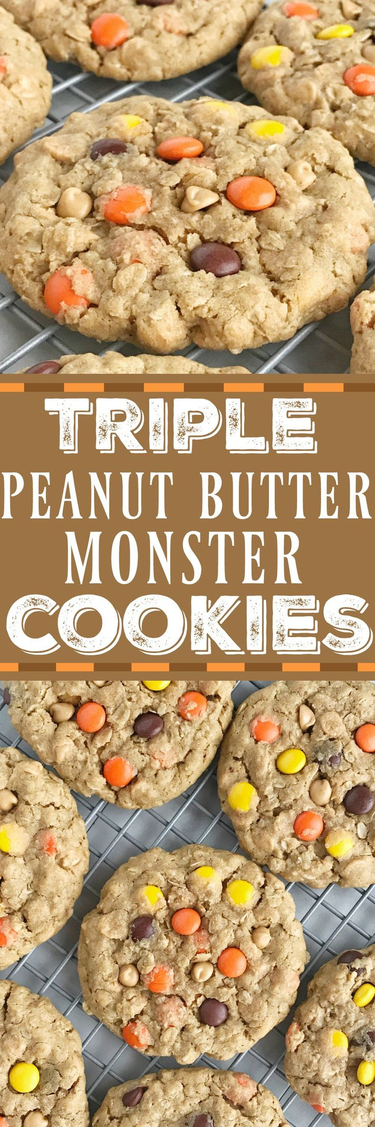 Triple Peanut Butter Monster Cookies. #Halloween #cookies