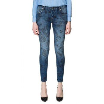 Floral Print Narrow Feet Slimming Casual Style Women's Jeans, LIGHT BLUE, 42 in Pants & Shorts | DressLily.com