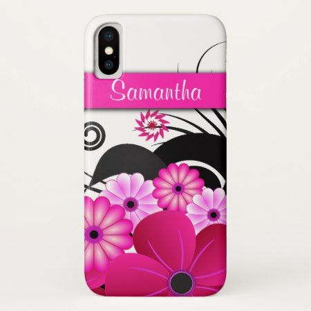 Girly Hot Pink Fuchsia Floral Hibiscus Flowers iPhone X Case - click/tap to personalize and buy