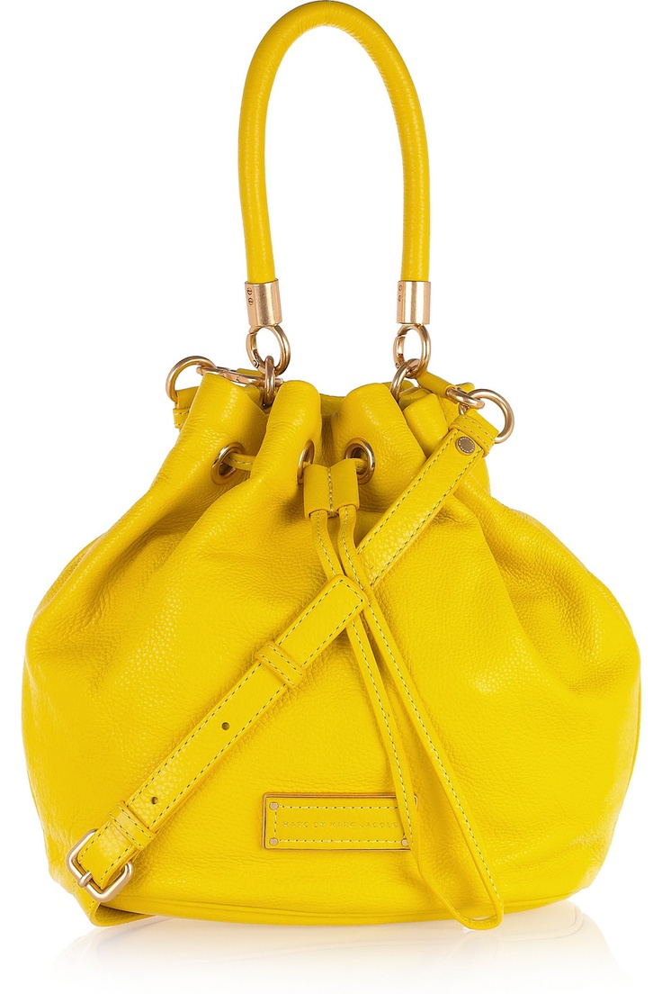 Marc by Marc Jacobs - leather bucket bagBuckets Bags, Handles Leather, Fashion Design, Mellow Yellow, Design Handbags, Leather Handbags, Marc Jacobs, Hello Yellow, Leather Buckets