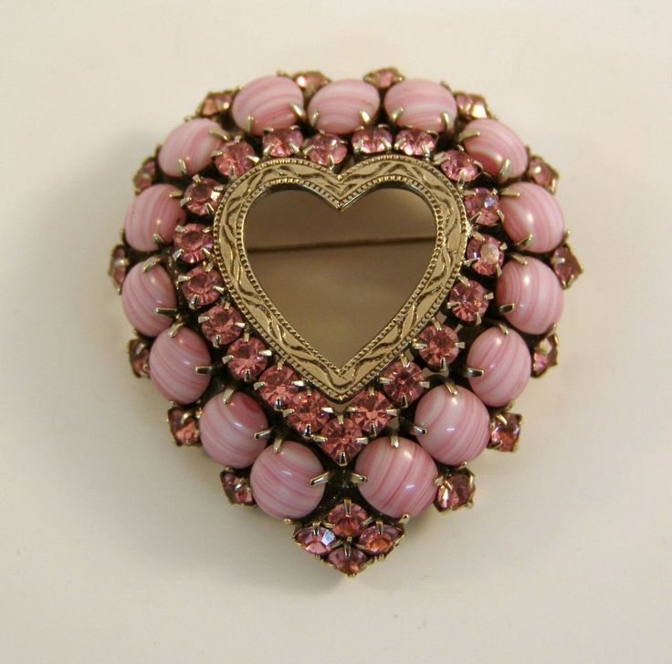 Domed Pink Heart Brooch with Rhinestones and 1950's Art Glass Signed D. Pollak.