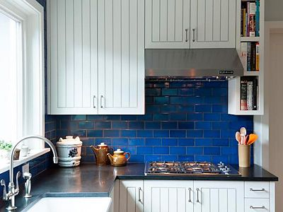 Love The Blue Subway Tiles (Roseland Greene: Blue And White Kitchen)
