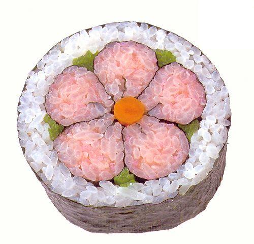 Plum Flower Maki Roll created by Kawasuken according to www.cookwithkathy.wordpress.com/sushi/.