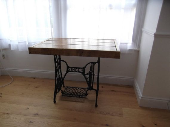 RUSTIC DINING TABLE  with vintage singer sewing machine