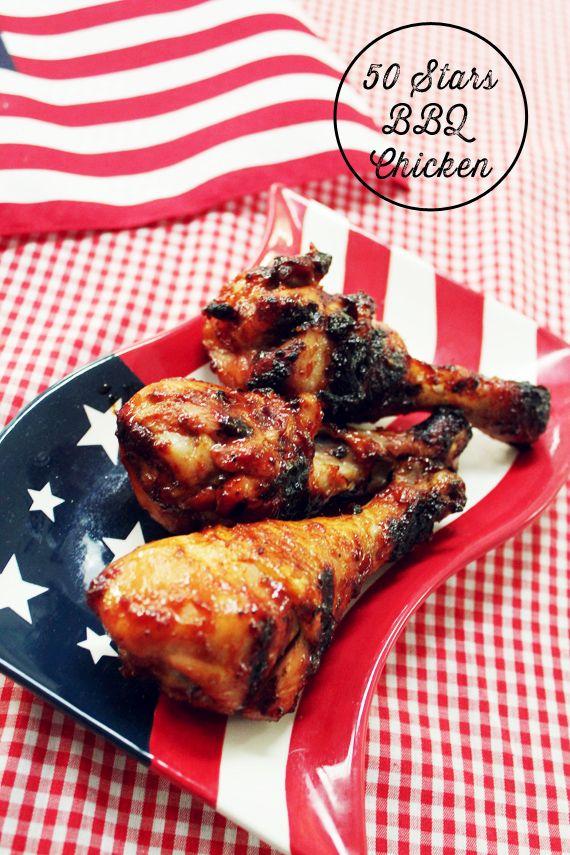 4th of July Menu Line Up: 50 Stars BBQ Chicken, Avocado Cucumber Salad, and Lemon Blueberry Bars