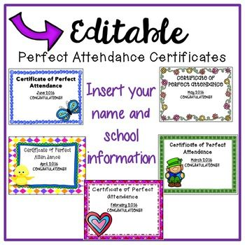 Free Download!! Perfect Attendance Certificates for the rest of the 2015-2016 school year!  Woohooo!!  Great for classroom and schools to improve attendance :)
