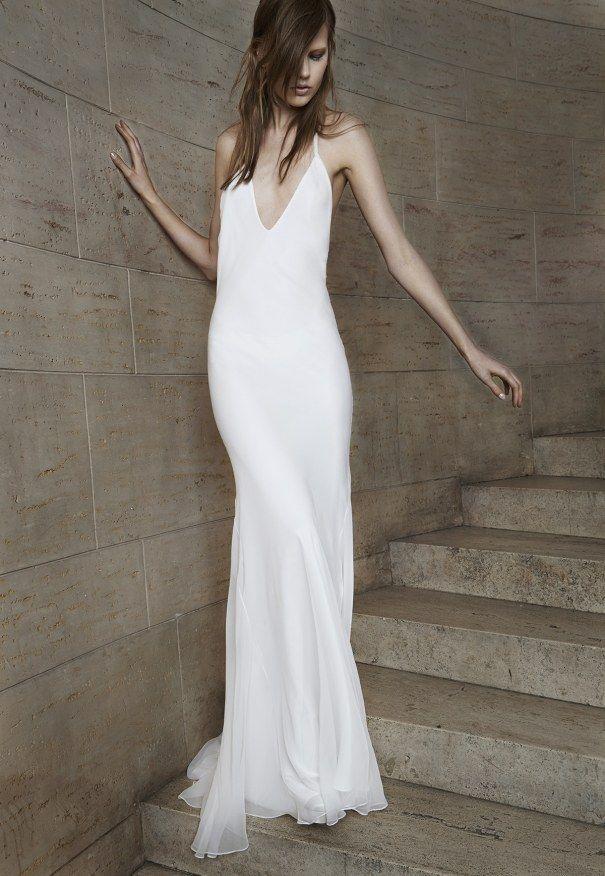 Vera Wang V-Neck Dress, price on request | 36 Elegant Minimalist Wedding Dresses