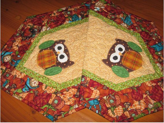 Fall table runner, owl table runner, quilted table topper, autumn home decor, 14 by 37 inches, reversible