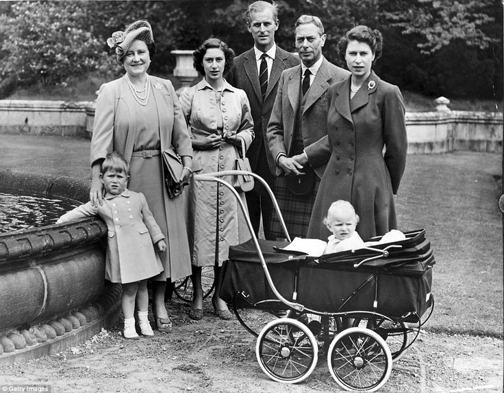 Last holiday together: This poignant shot shows King George VI on his last Balmoral holiday in 1951 with Princess Elizabeth, Queen Elizabeth, Princess Margaret, Prince Charles, Princess Anne & Prince Philip