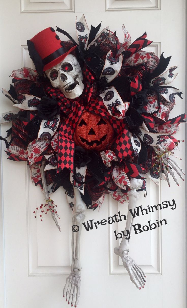 xl skeleton deco mesh wreath in red black halloween wreath skeleton decor - Etsy Halloween Decorations