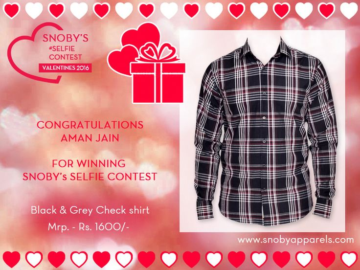 Snoby selfie contest giveaway - Black & Grey Check Shirt. Check out more details here: http://ow.ly/YMGcS