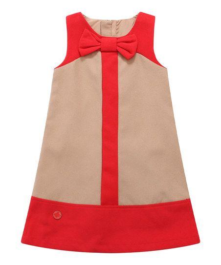 Richie House Tan Color Block Wool-Blend Shift Dress - Infant, Toddler & Girls | zulily
