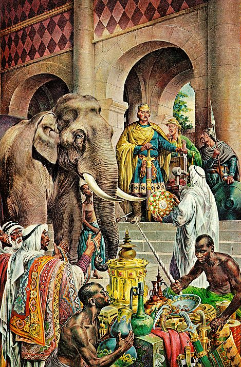 20 July 802, the first elephant north of the Alps mentioned in a document since antiquity arrived as a gift from Harun al-Rashid at Charlemagne's court in Aachen.