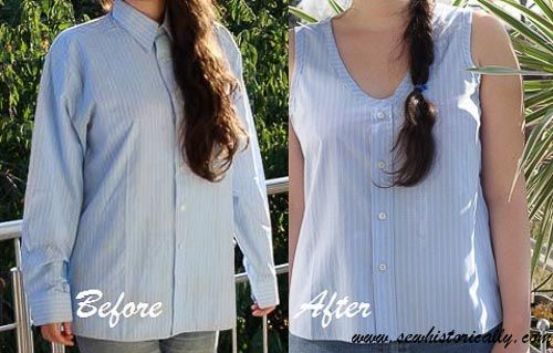 Men's Shirt Refashion Before After