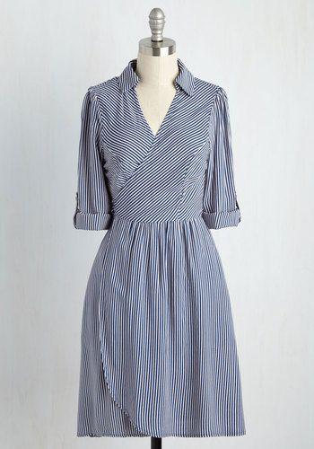 Ketch a Break Dress - Blue, White, Stripes, Print, Work, Casual, Nautical, Americana, A-line, Shirt Dress, 3/4 Sleeve, Summer, Fall, Woven, Better, Mid-length