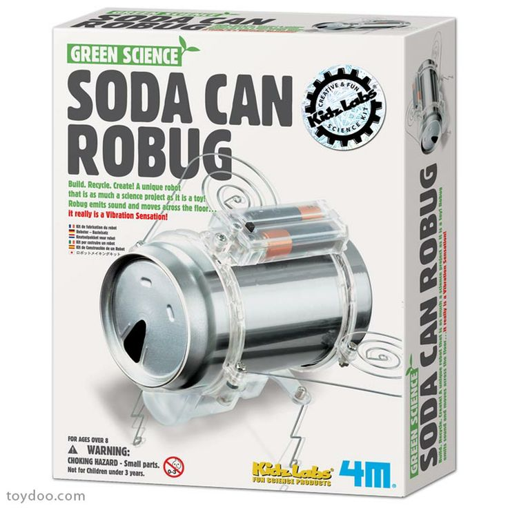 4M Green Science Soda Can Robug - Toysmith - Pack of 6 kits - Toydoo.com - Recycle a used soda can to create an exciting and quirky science project! Make a ROBUG that crawls around and emits a bug noise. Kit includes everything needed except two AAA Batteries and screwdriver, not included.