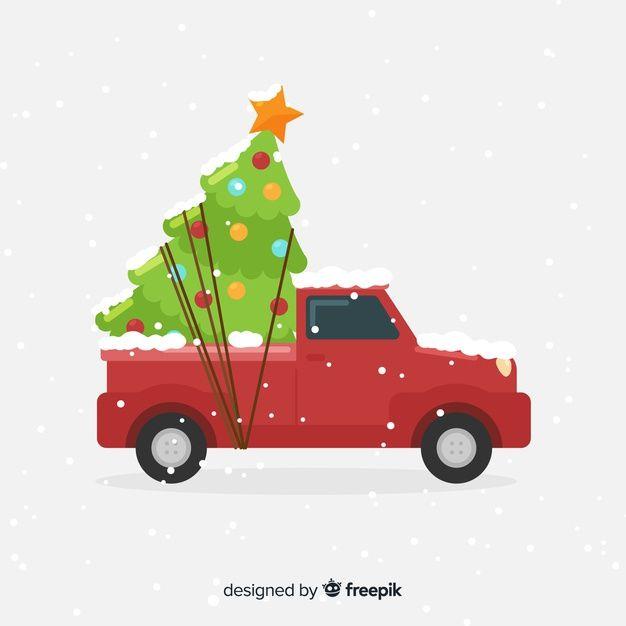 Download Gratis Pick Up Truck Met Kerstboom Kerst Auto Vintage Wenskaarten Rode Kerst