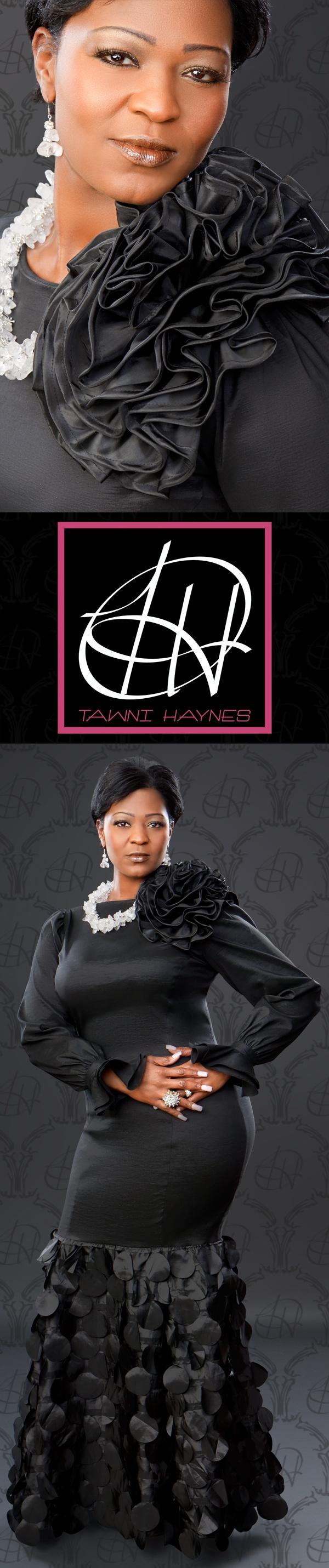 Tawni Haynes Custom Made Black Gown w/ Flower & Petal details.