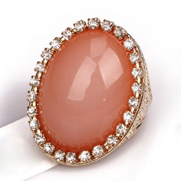 Stylish Diamante Oval Faux Gem Ring For Women, AS THE PICTURE, ONE-SIZE in Rings | DressLily.com