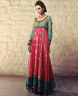 Pretty Colorblock - Cerise Green Elyse - - - Bridal Anarkali Frocks 2013 by Tena Durrani New York City, Bridal Anarkali Suits Online Yonkers NY