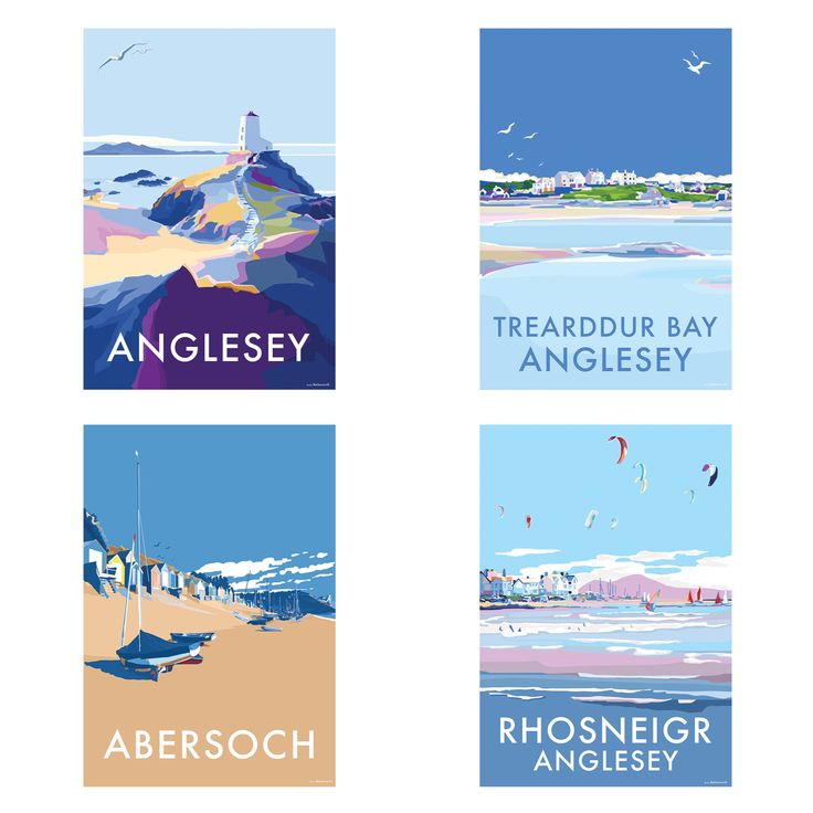 New north west prints are available to buy at www.beckybettesworth.co.uk #vintage #devonartist #seasideprints #travelposters #anglesy #abersoch #trearddurbay #rhosneigr #wales #holyhead #lighthouse #beckybettesworth