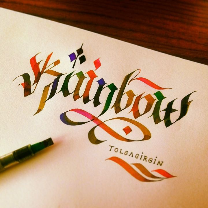 TolgaGirgin_Some Colorful Letterings with Parallelpen - Part 1 on Behance