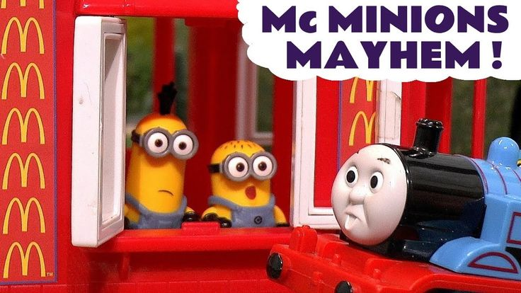 Thomas The Tank Engine Minions McDonalds Drive Thru Mayhem Burger Fire R...