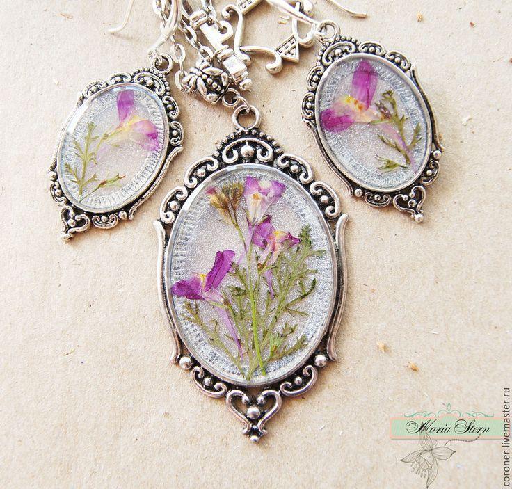 Купить Комплект с испанским люпином из ювелирной эпоксидной смолы - розовый, комплект украшений, серьги с цветами