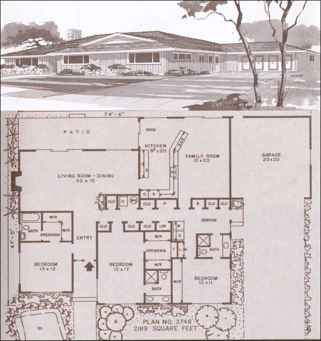 mid century modern house plans modern homes hiawatha t estes - 1950s Modern House Floor Plans