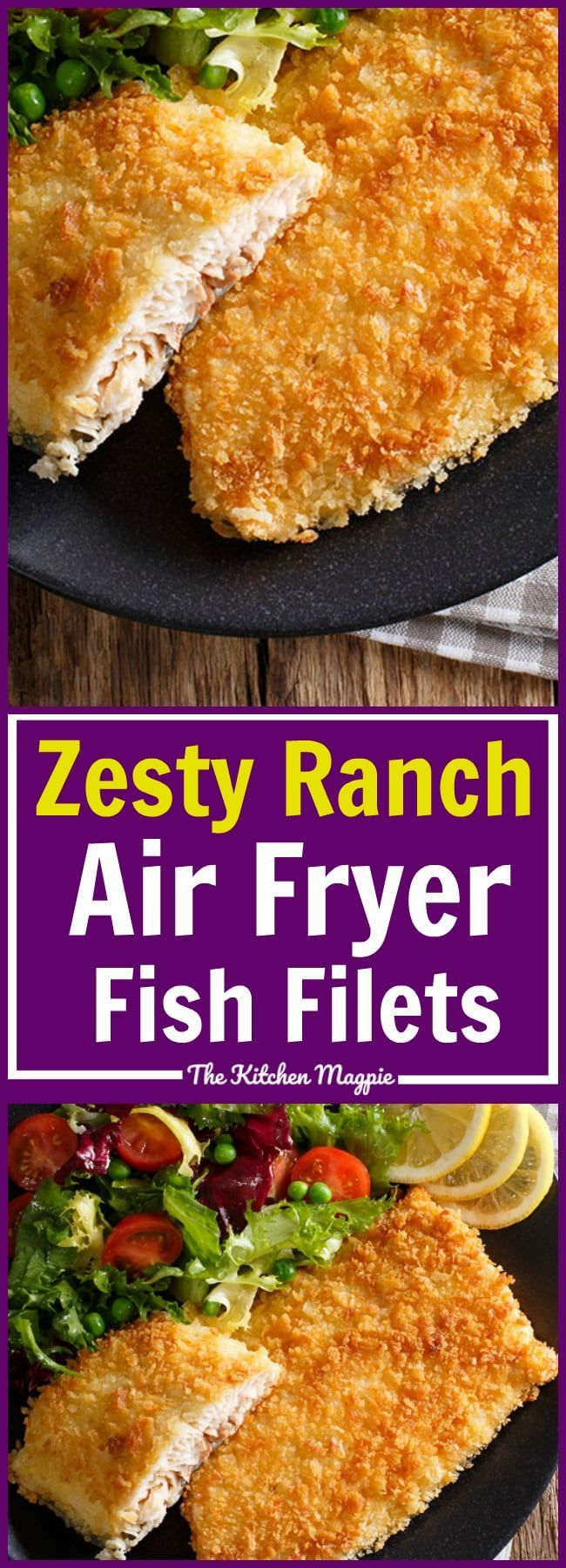 Zesty Ranch Air Fryer Fish Fillets! These are so easy and UNDER 300 CALORIES! #airfryer #recipe #fish