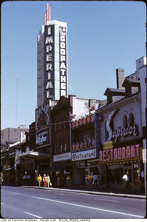 """Imperial Theatre Toronto with """"The Godfather' Marquis in the 1970's. Toronto Historical building"""
