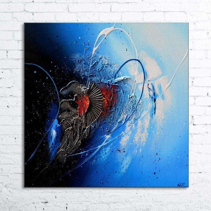 peinture blizzard tableau abstrait contemporain toile acrylique en relief noir bleu azur blanc argent - Tableaux Abstraits Colors