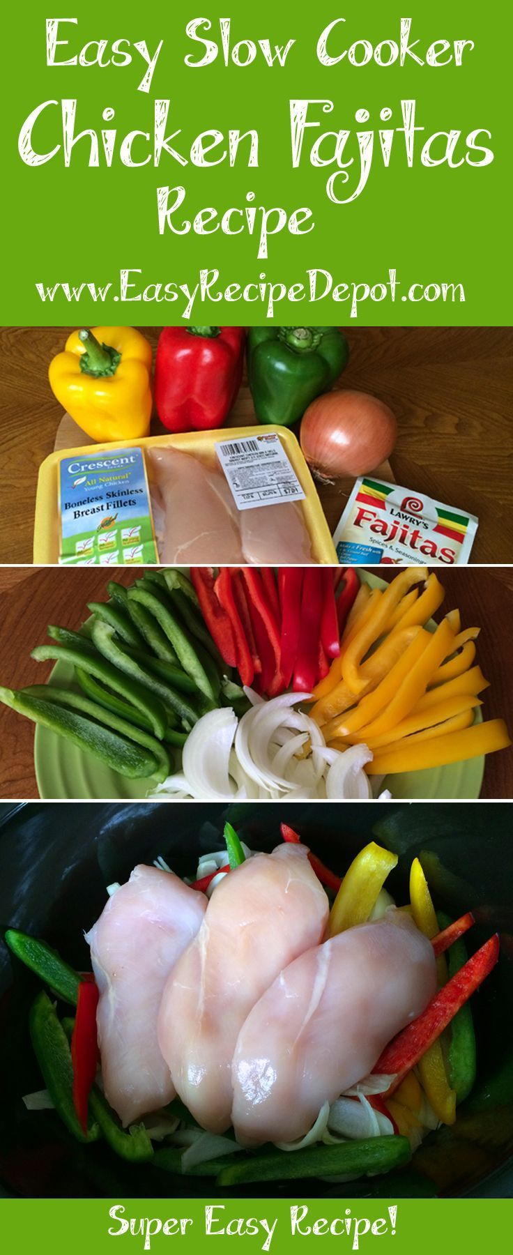 Easy recipe for Slow Cooker Chicken Fajitas. Just a few fresh ingredients and let your slow cooker do all the work. A must try!