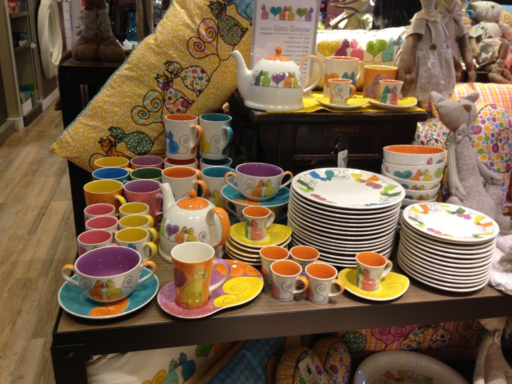 Multicolored dishes and cups in a Lisbon shop
