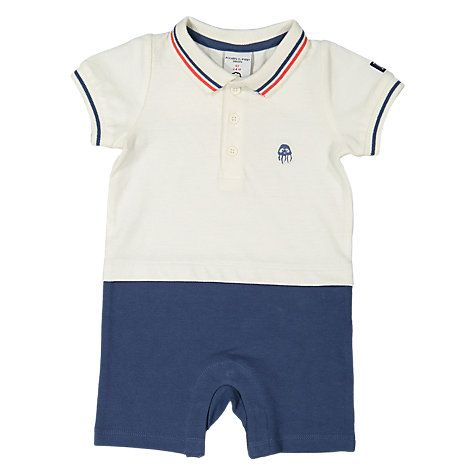 Buy Polarn O. Pyret Baby Polo Romper, White/Blue Online at johnlewis.com