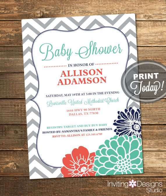 27 best baby invites images on pinterest baby girl shower girl coral navy blue mint green baby shower invitation girl neutral filmwisefo Image collections