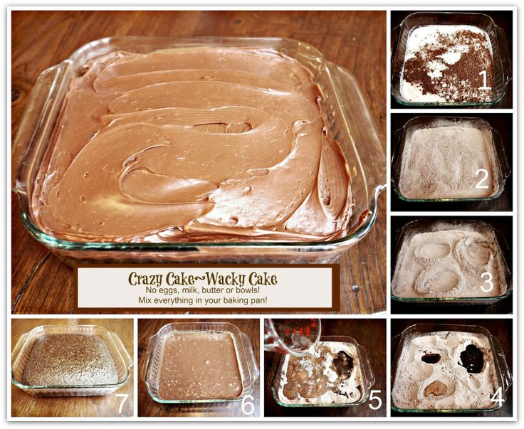 CRAZY CAKE, also known as Wacky Cake & Depression Cake- No Eggs, Milk, Butter,Bowls or Mixers!!! Crazy Moist & Good! Great activity to do with kids! go to recipe for egg/dairy allergies. Recipe dates back to the Great Depression. It's darn good cake!