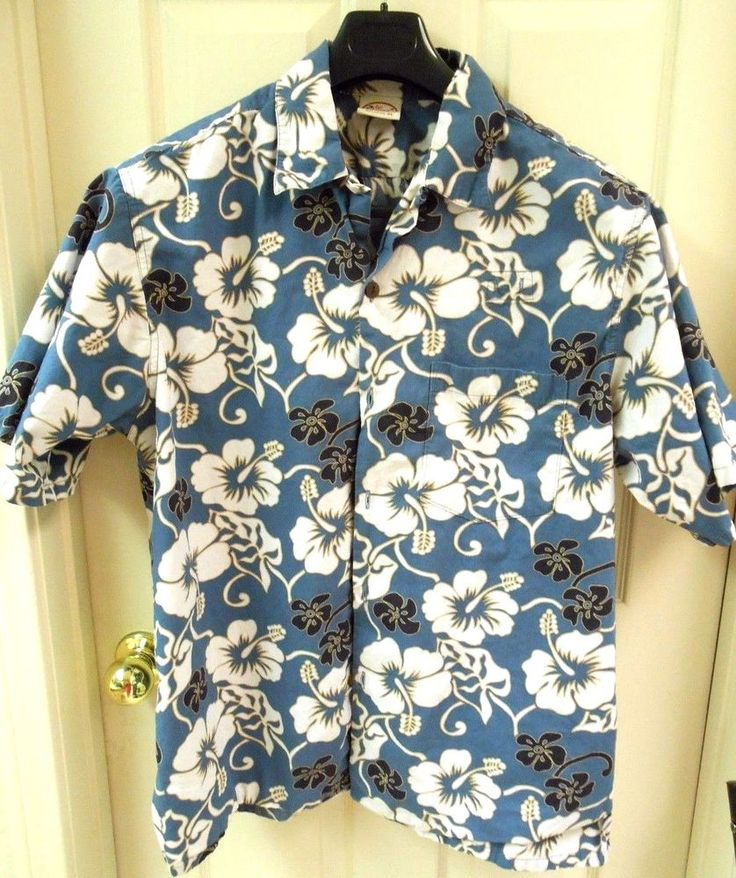 Go Barefoot Men's Hawaiian Shirt Blue Floral Short Sleeve Button Down XL #GoBarefoot #ButtonDownShirt #Casual