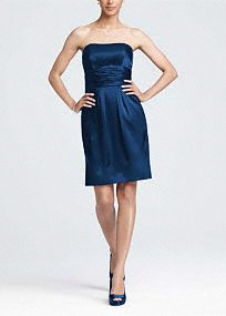 This short charmeuse dress is fun and stylish. The strapless neckline is sleek and fun. It has a ruched waist and pockets!   Wear this dress to a wedding and again for another special occasion.  The basic silhouette will keep this dress in your closet for years.  Fully lined.Back zip.Imported polyester. Dry clean only.  Available in store in sizes 2-30.  Get inspired by our colors..   To protect your dress, try our Non Woven Garment Bag.