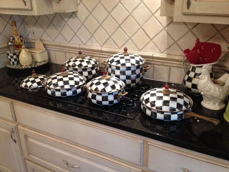 Black Kitchen Table And Chairs Decor Yellow Mackenzie Childs Courtly Check Pots Pans- Beautiful ...