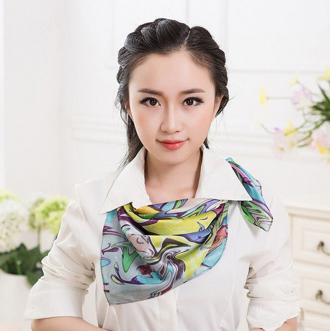 The new 100 silk square scarf handmade Hemming for women