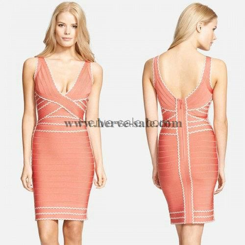 Herve Leger Kenna Tipped Scalloped-Edge Dress Coral HB001055