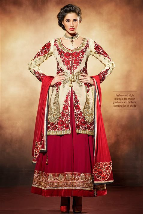 Mesmeric Nargis Fakhri  Cream, Maroon Georgette Embroidered Long Floor Length Anarkali